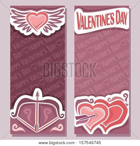 Vector abstract banners for Happy Valentine's Day, purple flyer: bow arrow pierced hearts, greeting valentines card with simple heart with wings, vertical banner for text holiday lovers st. valentine.