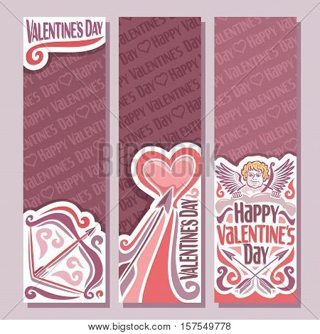 Vector abstract banners for Happy Valentine's Day, purple flyer: bow and arrow in heart, red greeting valentines card with cupid wings, vertical banner for romantic text holiday lovers st. valentine.