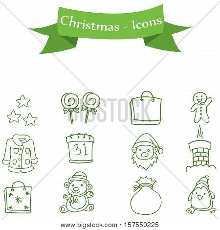 Set of illustration Christmas icons collection stock