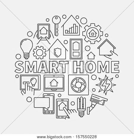 Smart home outline illustration. Vector round symbol made with icons and word SMART HOME in thin line style
