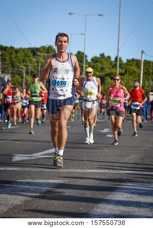 ATHENSGREECE - NOV 13-2016: 34nd Athens Classic Marathon.Over 50000 athletes from dozens of countries took part in the classic authentic marathon November 13 2016 in Marathon City AthensGreece