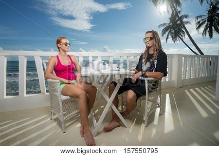 Young woman drink with boyfriend