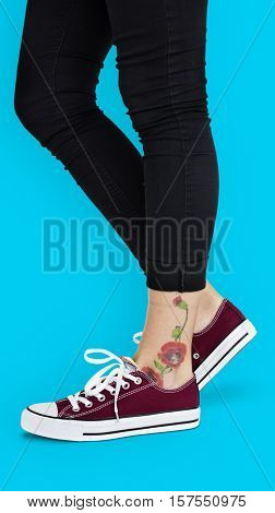 Ankle Flowers Tattoo Women Concept