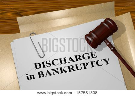 "3D illustration of ""DISCHARGE in BANKRUPTCY"" title on legal document poster"