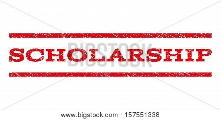 Scholarship watermark stamp. Text tag between parallel lines with grunge design style. Rubber seal stamp with unclean texture. Vector red color ink imprint on a white background.