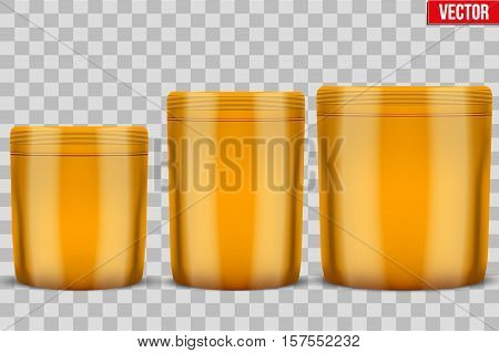 Template Sport Nutrition Foil Package. Whey Protein and Gainer. Orange color. Vector Illustration isolated on white background