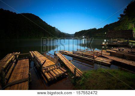 Bamboo raft on Pang Ung reservoir lake Pang Ung Mae Hong Son province Northern Thailand