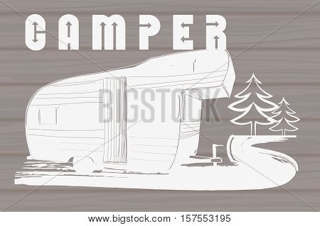 Vector illustration of Vintage Hand Drawn logos design on wood background, Camper trailer, car Recreation transport, Vehicles Camper Vans Caravans Icons, badges, stamp, print, types, sign.