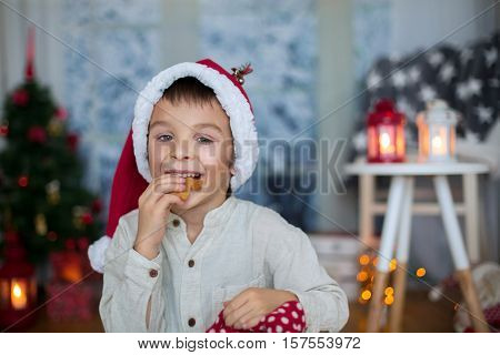 Cute Preschool Child, Boy, Reading A Book And Eating Cookies At Home