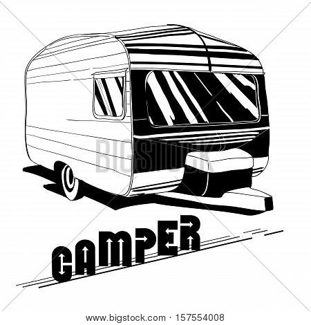 Vector illustration of isolated Hand Drawn, doodle Vintage Camper, car Recreation transport, Vehicles Camper Vans Caravans Icons. Motor home. Object with text.