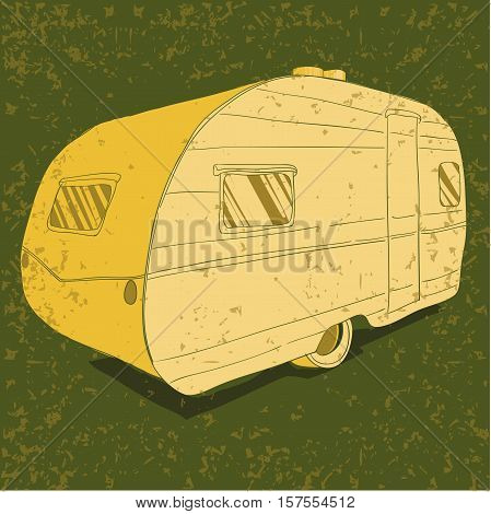 Vector illustration of Vintage Trailer, Vehicles Camper Vans Caravans typographic, silhouette trailer, caravan. Print for textile with text