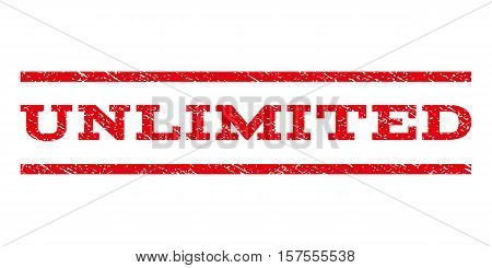Unlimited watermark stamp. Text caption between parallel lines with grunge design style. Rubber seal stamp with dust texture. Vector red color ink imprint on a white background.