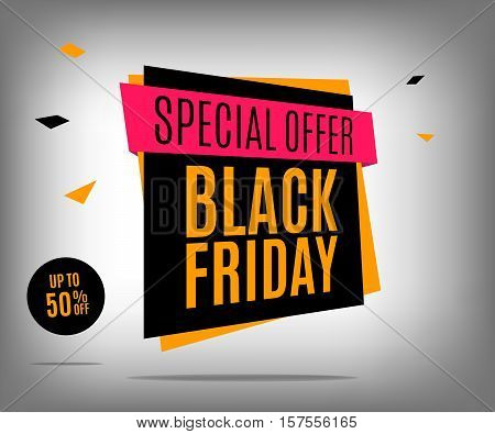 Sale banner on a abstract gray background. Black friday vector poster eps 10