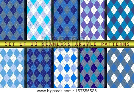Set of ten seamless argyle pattern in shades of blue.