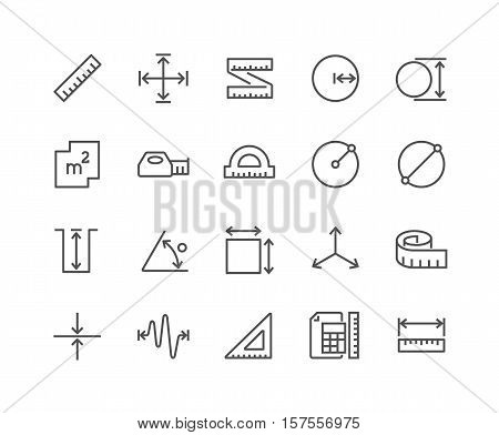 Simple Set of Measure Related Vector Line Icons. Contains such Icons as Radius, Diameter, Depth, Axis, Area and more. Editable Stroke. 48x48 Pixel Perfect.
