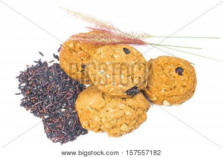 oat and meal rasin cookies isolate on white