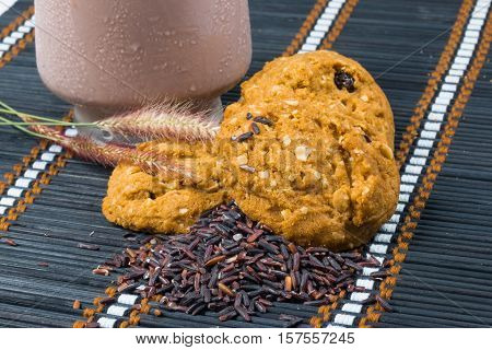 oat and meal rasin cookies with Coffee isolate on mat