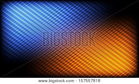 Abstract desktop hd wallpaper background. Vector pattern of shining crossing lines with bright blue & orange highlights. 16:9 HD aspect ratio.