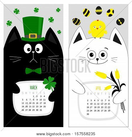 Cat calendar 2017. Cute funny cartoon character set. March April spring month. Green hat tye bow chicken egg. Clover leaf tulip flower. Happy Patricks day Easter Flat design. Gray background. Vector