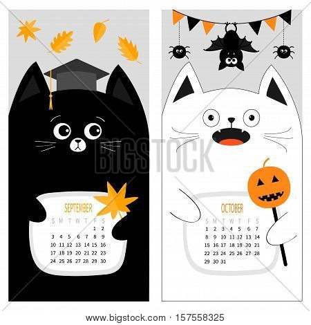 Cat calendar 2017. Cute funny cartoon character set. September October autumn month. Orange leaf Graduation hat Academic Cap. Bat spider flag pumpkin candy Happy Halloween Flat Gray background Vector