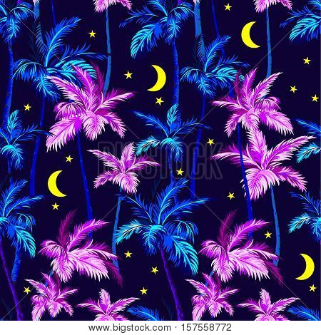 vector palms pattern with moon and stars, midnight aloha style design. Botanical illustration.