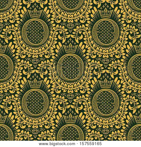Damask seamless pattern repeating background. Golden green floral ornament with O letter and crown in baroque style. Antique golden repeatable wallpaper.