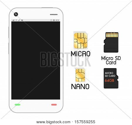 smartphone with sim card and micro sd card