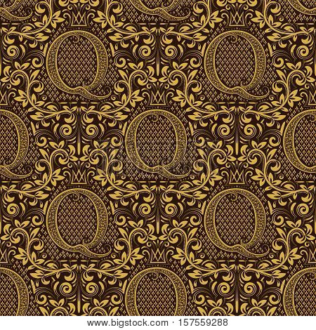 Damask seamless pattern repeating background. Golden brown floral ornament with Q letter and crown in baroque style. Antique golden repeatable wallpaper.