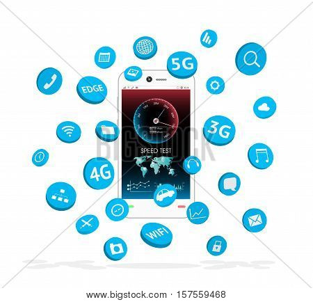 a smartphone with apps icon floating over screen