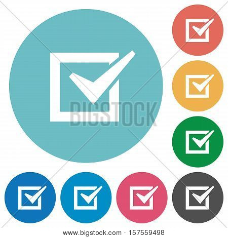 Checked box white flat icons on color rounded square backgrounds