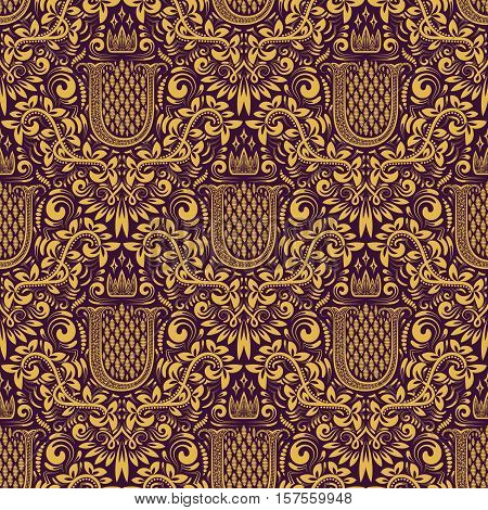 Damask seamless pattern repeating background. Golden purple floral ornament with U letter and crown in baroque style. Antique golden repeatable wallpaper.