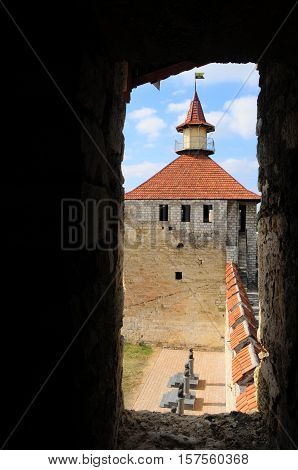 fortress in Bender, Moldova Republic of Transnistria - October 01 2016. Old fortress on the river Dniester in town Bender Transnistria. City within the borders of Moldova under of the control unrecognized Transnistria Republic. view from the window of the