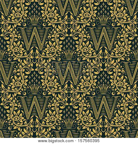 Damask seamless pattern repeating background. Golden blue floral ornament with W letter and crown in baroque style. Antique golden repeatable wallpaper.