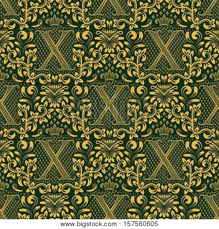 Damask seamless pattern repeating background. Golden green floral ornament with X letter and crown in baroque style. Antique golden repeatable wallpaper.