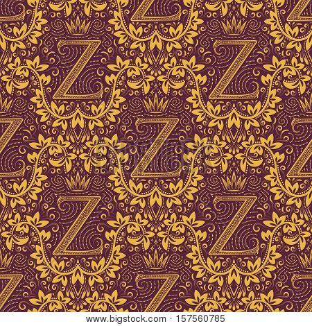 Damask seamless pattern repeating background. Golden purple floral ornament with Z letter and crown in baroque style. Antique golden repeatable wallpaper.
