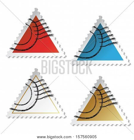 Vector triangle stamp stickers on white background - illustration