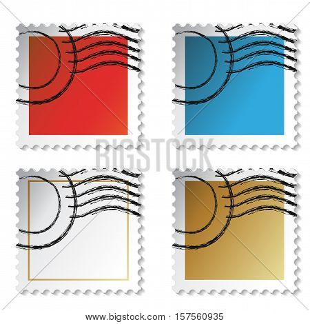 Vector square stamp stickers on white background - illustration