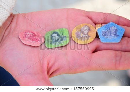 Bender Moldova Republic of Transnistria- October 1 2016. Photo plastic coins Transnistria. Transnistria is a self governing territory not recognised by the United Nations.