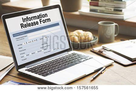 Information Release Form Document Concept