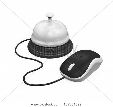 Reception Bell and Computer Mouse isolated on white background. 3D render