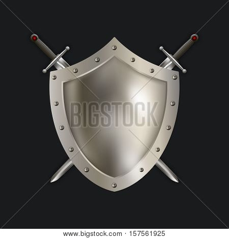 Antique riveted shield with two swords on black background. Isolated object for the design.