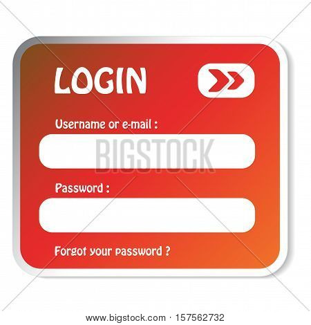 Vector red login form on white background - illustration