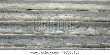 Old Hewn Natural Log Cabin Or Barn Wall Texture. Rustic Log House Vintage Wall Horizontal Background. Cracked Dry Wooden Debarked Log Rural Building Wall Structure. Abstract Vintage Web Banner