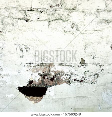Abstract Rectangular White Texture. White Washed Old Brick Wall With Stained And Shabby Uneven Plaster. Painted White Grey Brickwall Background. Home House Room Interior Design. Square Backgrounds And Textures