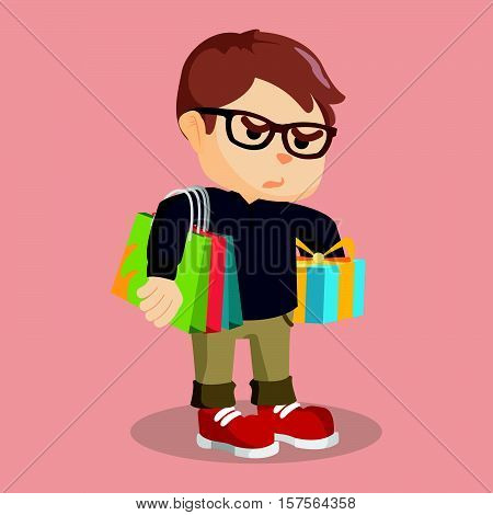 Boy carrying shoping bag and gift vector illustration design eps 10