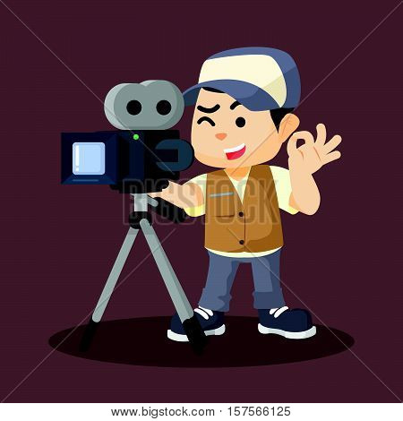 a boy movie cameraman recording vector illustration design eps 10
