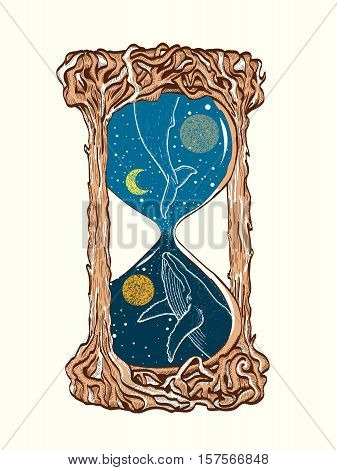 Hourglass tattoo. Whales swim in the hourglass tattoo art mystic time symbol. Blue whale dives into space hourglas tattoo vector illustration