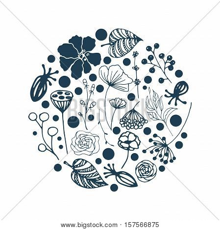 vector set of flowers, herbs and leaves are arranged in a circle, which can be used in invitations, postcards and flyers or logo