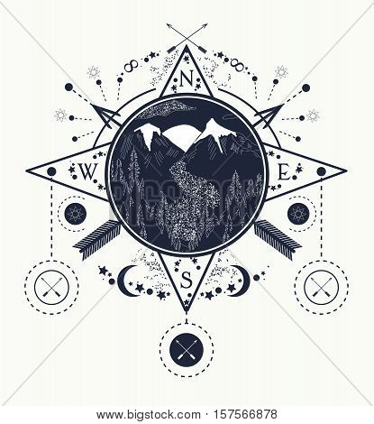 Mountain wind rose compass tattoo art. Travel adventure outdoors meditation symbol. Road in the mountains. Tattoo for camping tracking and hiking