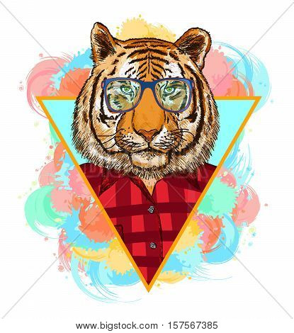 Tiger hipster fashion animal illustration. Fashion portrait of hipster tiger